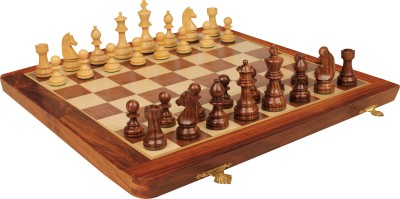 Fun Rally Wooden Magnetic 12 inch Chess Board(Brown, Yellow)