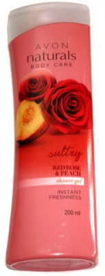 Avon Naturals Body Care Red Rose Peach Shower Gel, 200 ML