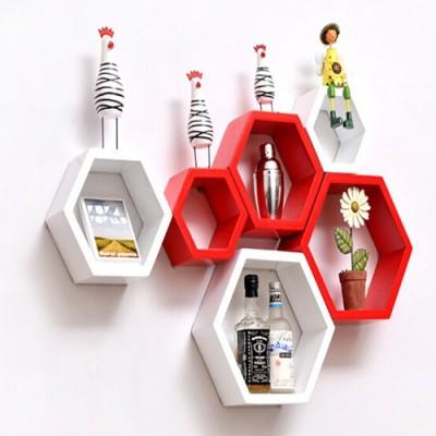 Paras Decor Engineered Wood Semi-Open Book Shelf(Finish Color - White & Red) at flipkart