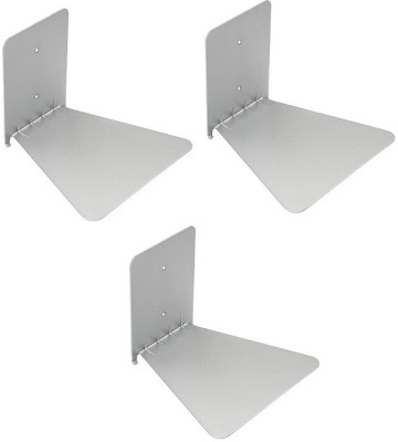 Solid Set Of three Invisible Room Decorative Bookcase Holder Hidden Rack Floating Creative Decor Wall Mount Metal Open Book Shelf(Finish Color - Silver)