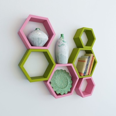 Ganeshaas Gphxd007pg Pink N Olive Green Beehive Hexagon Floating MDF Wall Shelf(Number of Shelves - 6, Pink, Green) at flipkart