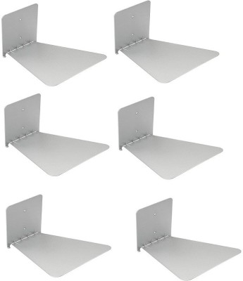 IBS Set of 6 Invisible Bookshelf Floating Design Home Decor Office Hidden Wall Mount Bookcase Metal Open Metal Open Book Shelf(Finish Color - Silver)