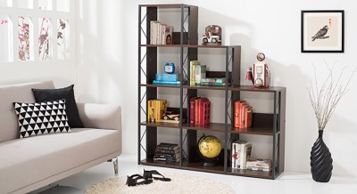 Urban Ladder Delany Engineered Wood Open Book Shelf(Finish Color - Wenge)