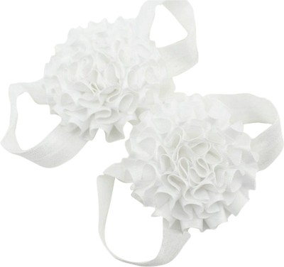 AkinosKIDS White Newborn satin flower first walker Barefoot Sandal Booties(Toe to Heel Length - 6 cm, White)