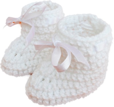 Love Crochet Art Booties(Toe to Heel Length - 10 cm, White)
