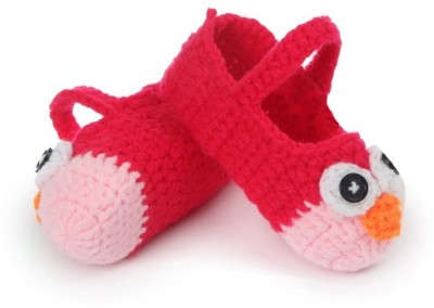 AkinosKIDS Cartoon crochet prewalker Toddler baby sandal shoes Booties(Toe to Heel Length - 10 cm, Red)