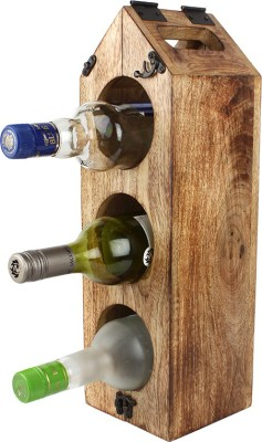 EarthenMetal Wooden Wine Rack(Beige, 3 Bottles)