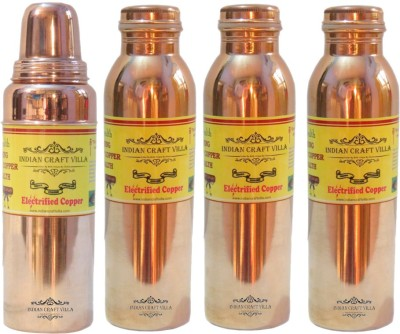 Nirvana Craft Villa Handmade High Quality Pure Copper Leak Proof Joint free Set of 3 Volume 900 ML With 1 Thumsup Volume 700 ML 3400 ml Bottle(Pack of 4, Brown) at flipkart