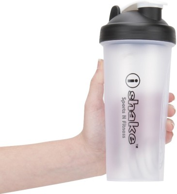 iShake Translucent Body Black Cap 008 gym bottle 600 ml Shaker(White, Black)  available at flipkart for Rs.218