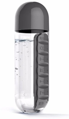 Maxed Water Bottle with Pill Organiser 600 ml Bottle(Pack of 1, Black) at flipkart