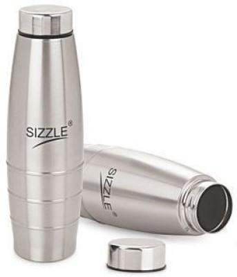Sizzle Fridge Water 2 Pc Set Sfb 501 1000 ml Bottle Pack of 2, Silver, Steel Sizzle Water Bottles