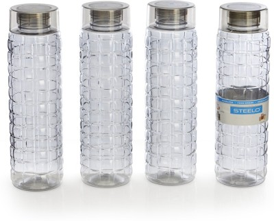 Steelo 1000ml x 4 pcs Premium PET Bottle Set (Solitaire Grey) 1000 ml Bottle(Pack of 4, Grey)