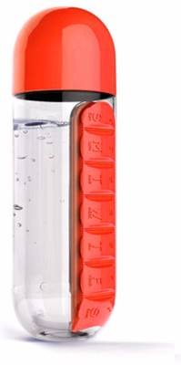 Maxed Water Bottle with Pill Organiser 600 ml Bottle(Pack of 1, Red) at flipkart