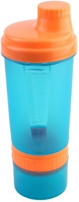 FITSY 3 in 1 Protein Shaker 600 ml Bottle(Pack of 1, Blue, Orange)