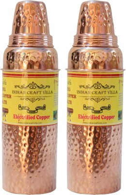 Nirvana Craft Villa Handmade Set Of 2 Pure Copper Hammered Thermos Design 800 ML - Storage Drinking Water Home Hotel Restaurant Benefit Yoga Ayurveda Healing 1600 ml Bottle(Pack of 2, Brown) at flipkart