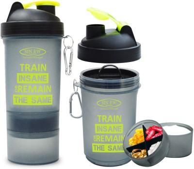 Sinew Nutrition All In One Smart Shaker Bottle - 20 oz (Black/Neon Green) 600 ml Shaker(Pack of 1, Black, Green)  available at flipkart for Rs.299