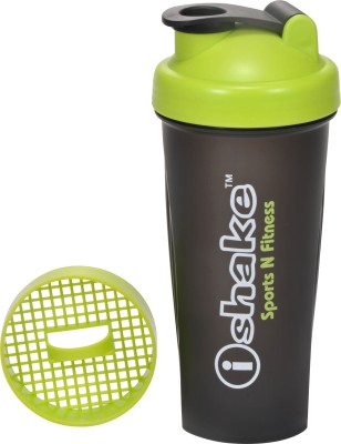 iShake Black Body Green Cap Combatant gym bottle 600 ml Shaker(Pack of 1, Black, Green)  available at flipkart for Rs.203