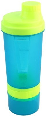 FITSY 3 in 1 Protein Shaker 600 ml Bottle(Pack of 1, Blue, Green)