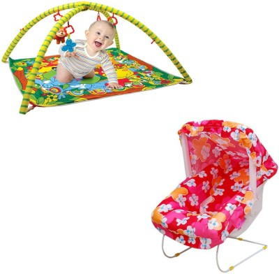 318bedfe1 68% OFF on Mofaro Pink Baby Bouncer Cum Carry Cot With Baby Gym(Pink ...