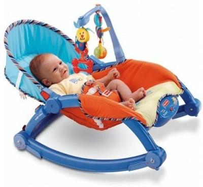 The Flyer's Bay Fiddle Diddle Newborn to Toddler Portable Baby Chair Cum Rocker(Blue)