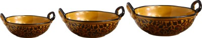 Caffeine Serving Kadhai Bowl Set Ceramic/Stoneware in Brown Sehra (1 Large, 1 Medium & 1 Small Kadhai) (Set of 3) Handmade By Caffeine Stoneware Bowl Set(Multicolor, Pack of 3)  available at flipkart for Rs.1899