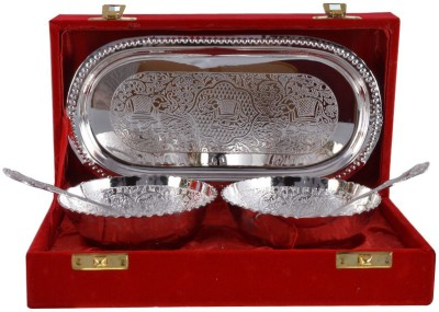 The Art Box Silver Plated Bowl Spoon Tray Serving Set(Pack of 5) at flipkart