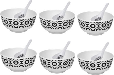 Shalom Melamine Bowl Set(White, Pack of 12) at flipkart