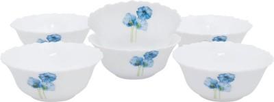 La Opala Diva Classique 6pcs Snack Bowl Set -Blue Poppies Glass Bowl Set(White, Pack of 6)  available at flipkart for Rs.425