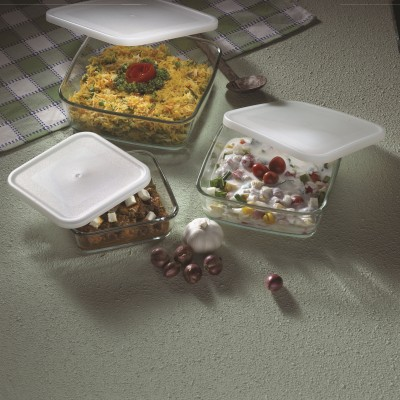 Borosil Square Dish with Lid Set-500 ml +800ml +1.6 l Glass Bowl Set(White, Pack of 3)  available at flipkart for Rs.1699