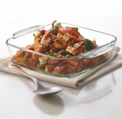 Borosil Square Dish with Handle 800 ml Glass Serving Bowl White, Pack of 1 Borosil Bowls