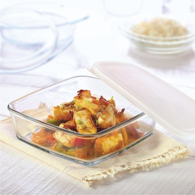 Borosil Square Dish with Lid-500 ml Glass Bowl(White, Pack of 1)  available at flipkart for Rs.445