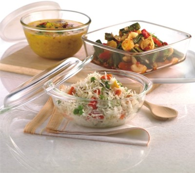 Borosil Essential Combination Set - Square Dish with Lid 850ML, Mixing Bowl with Lid 500ML, Easy Grip Bowl - 1.1L Glass Bowl Set(Clear, Pack of 3)  available at flipkart for Rs.1649