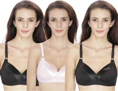 At Last Women T-Shirt Lightly Padded Bra(Black, Pink) at flipkart