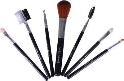Looks United 7 PCs Cosmetic Makeup Applicator Brush Set Black/ Silver Pack of 7 Looks United Makeup Brush