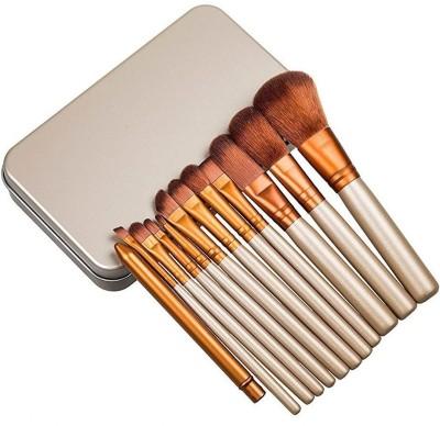 VibeX ® 12pcs/set Power brush URBAN Professional make up brush kit beauty eye face tool Metal box(Pack of 12) at flipkart
