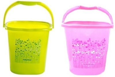 Nayasa 25 L Plastic Bucket(Green, Pink) at flipkart