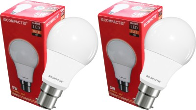 Compact-5-W-B22-LED-Bulb-(Cool-White,-Pack-Of-2)