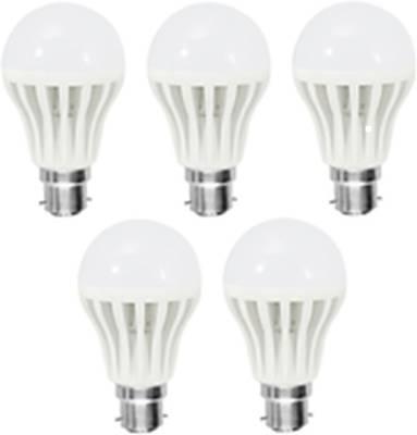 Gold-7W-Plastic-Body-Warm-White-LED-Bulb-(Pack-Of-5)