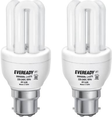 Eveready Mini 8 Watt CFL Bulb (White and Pack of 2) Image