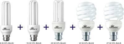 Ornate-8W,-15W,-20W,-23W,-27W-CFL-Bulbs-(White,-Pack-of-5)