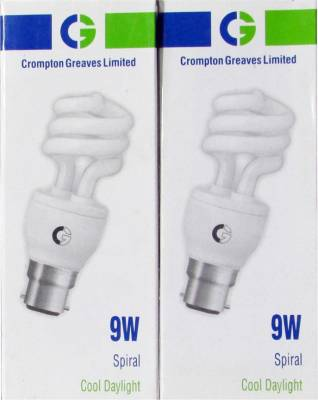 Crompton Greaves 9 W Spiral CFL Bulb (Cool Daylight, Pack of 2) Image