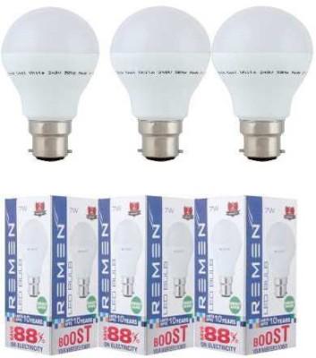 REMEN-7W-B22-LED-Bulb-(White,-Set-of-3)
