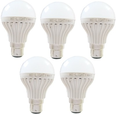 Hi-Light-5W-B22-LED-Bulb-(White,-Set-of-5)