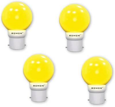 REMEN-0.5W-B22-LED-Bulb-(Yellow,-Pack-of-4)