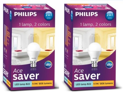 Philips-8.5-W-LED-2-in-1-Color-Changing-Bulb-B22-White,Yellow-(pack-of-2)