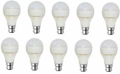 Gold-9W-Plastic-Body-Warm-White-LED-Bulb-(Pack-Of-10)