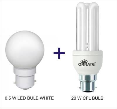 Ornate-Combo-Of-0.5W-LED-&-20W-3U-CFL-Bulbs-(White)