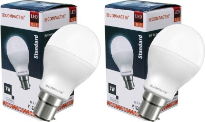 Compact-7-W-B22-LED-Bulb-(Cool-White,-Pack-of-2)
