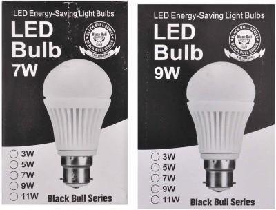 Black-Bull-Series-7W,9W-B22-LED-Bulb-(White,-Set-Of-2)