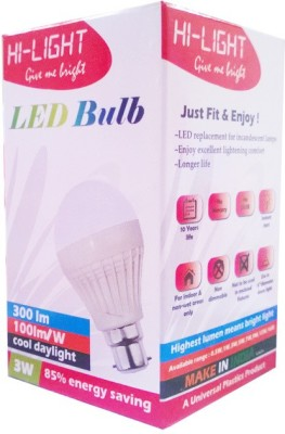 Hi-Light-3W-B22-LED-Bulb-(White,-Set-of-5)
